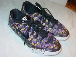 2014 Nike Kobe IX EM Floral Black/Court Purple/Tour Yellow Shoes! Size 6.5Y