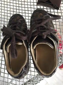 £240 Louis Vuitton Boys Girls Unisex Monogram Globe Trotter Children Shoes Sz 30