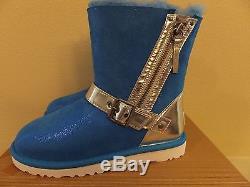 $240 UGG Kids 10 Toddler Girls Blaise Metallic Patent Winter Boots 1004389K BNTB