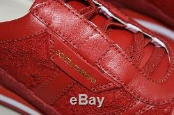 $325 NEW Dolce & Gabbana Girls Floral Lace Sneakers Leather Red Shoes 35 US 3