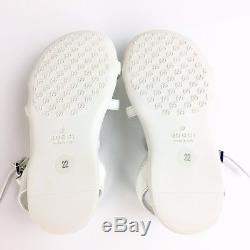 $325 NEW GUCCI Kids Girls Sandals White Leather + Heart Shoes 22