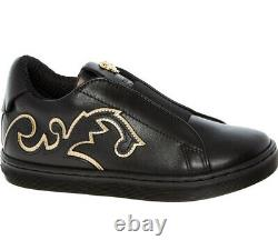 £328 VERSACE Young Designer Medusa Black Leather Trainers Shoes Made In Italy