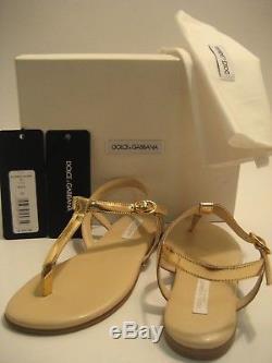 $340 NEW Dolce&Gabbana D&G Girls Kids US 13 Gold Flip Flops Thong Sandals Shoes