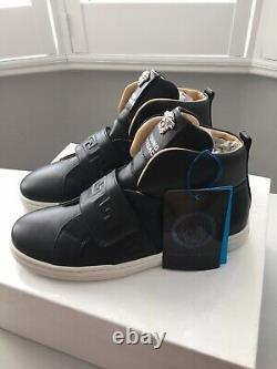 £350 VERSACE Young Medusa Black Leather Shoes Trainers Made In Italy