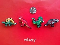 4 New Dinosaur T-Rex jibbitz crocs shoe charms wrist loom band cake toppers