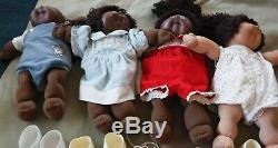 4 Vintage Cabbage Patch Kids Doll Black 1 Boy 3 Girls, Shoes, COLCO 85