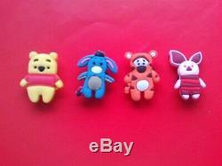 4 Winnie The Pooh Tigger Eeyore Piglet jibbitz crocs shoe charms cake toppers