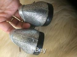 $400 Gucci Girl Childrens Silve Leather Ballet Flats withBee and Bow 32/US12