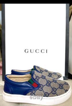 $482 GUCCI 2019 Logo Boy Girl tennis Shoes Sneaker 12 12.5 Slide 29 30 Kid