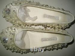 $550 NEW Dolce&Gabbana D&G Girls Youth US 12.5 White Satin Flats Ballet Shoes BX