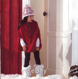 $595 NEW GUCCI Kids Girls Snow BOOTS Rabbit Fur Trim GG Logo White Nylon 24 26