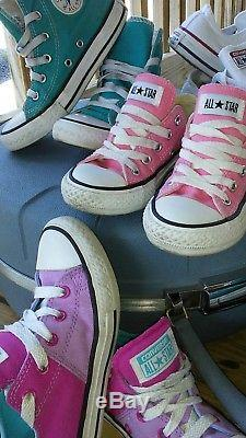 6 Pair Lot Converse All Star Sneakers Shoes Kids Girls Hi Tops Size 11 12 13 EUC