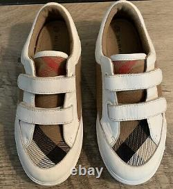 AUTHENTIC Boys Girls BURBERRY Nova Check PLAID White Leather SNEAKERS Shoes 32