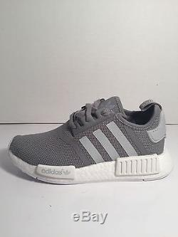 premium selection 44ce0 5f814 Adidas Nmd R1 Junior Grey Mesh White Gs Girls Boys Kids ...