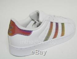 Adidas Superstar Lenticular Iridescent White Rainbow Kids Children Girls Boys