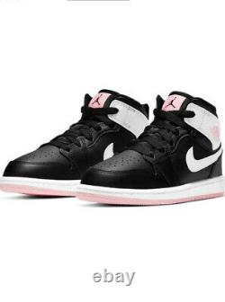 Air Jordan 1 Mid Black/Pink Preschool Girls' Shoe Size 12k New