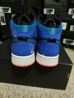 Air Jordan 1 Mid GS 7 Youth 7Y Boys Girls Kids Shoe Blue Orange Black 554725-440
