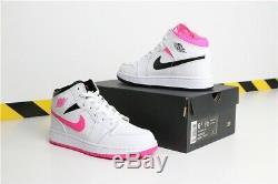 Air Jordan 1 Mid (GS) White/BLACK-HYPER Pink Big Kids SHOES 555112-106 SIZE 6.5Y