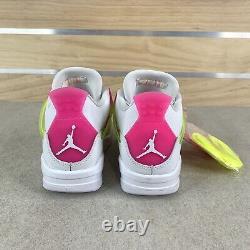 Air Jordan 4 Retro Lemon Venom Big Kids CV7808-100 White Shoes Youth Size 4Y