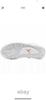 Air Jordan 4 Retro Lemon Venom Big Kids CV7808-100 White Shoes Youth Size 6