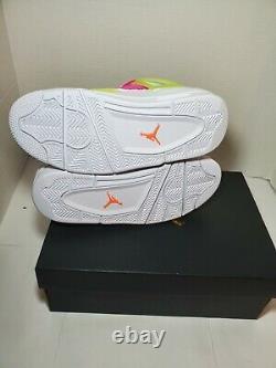 Air Jordan 4 Retro Lemon Venom Big Kids CV7808-100 White Shoes Youth Size 6y