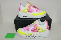 Air Jordan 4 Retro Lemon Venom Big Kids DS (CV7808-100) White Shoes Youth Sz 7Y