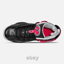 Air Jordan Grade School 6 Rings Shoe Black Pink 323399-061 Size 6.5Y / Women 8