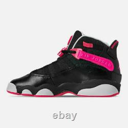 Air Jordan Grade School 6 Rings Shoe Black Pink 323399-061 Size 6Y / Women 7.5