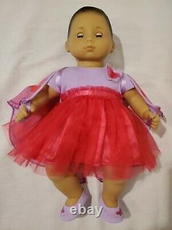 American Girl Bitty Baby 15 Caucasian Brown Hair Brown Eyes outfits lot shoes