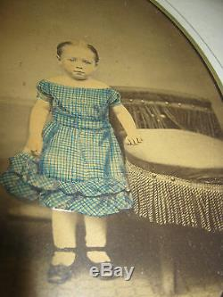Antique Home Wood Picture Frame Doll Girl Child Room Dress Shoes Art Photo Glass
