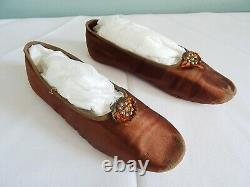Antique Victorian Shoes Slippers Brown Satin Cut Steel Child Girls Clarks c1850s