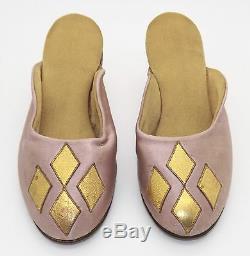 Antique Vintage Handmade Girls Children's Shoes Heels Satin Leather Pink & Gold