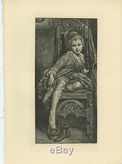 Antique Young Blonde Girl Child Dress Stockings Shoes Chair Tired Art Print