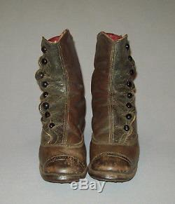 Antique vtg 1880s Childs Leather High Button Boots SZ 11 Shoes Boys Girls Nice