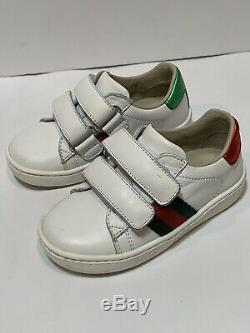 Auth Gucci Ace Toddler/Kids Boys/Girls White Unisex Sneakers Size 21 EU or 5 US
