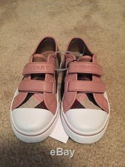Authentic Burberry Check Kids Girls Pink Sneakers Trainers Shoes Toddler Sizes