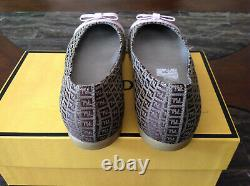 Authentic Fendi Rome FF loafers Shoes Ballet Flats SZ 35 / 4 youth Made in Italy