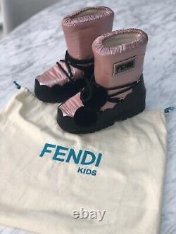 BN Fendi Kids girls Pom Pom Snow Moon Boots shoes Size 33/34 Uk 1-2 £530