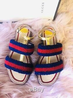 BRAND NEW Kids Girls Gucci Red and Navy Stripes Sandals