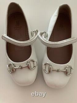 Baby Gucci White Patent Leather Horsebit Shoes Size 23