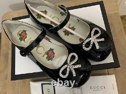 Bn Gucci Girls Navy Blue Patent Leather Crystal Bow Ballet Shoes Size 13 Uk