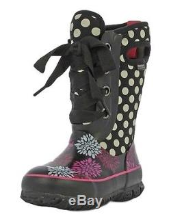 Bogs Muck Boots Girls Kids Casey Pompons Lace Up Waterproof 71992