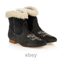 Bonpoint Kids Girls Suede Ankle Boots Eu 31 Uk 13