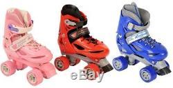 Boys Girls Roller Skates Kids Adjustable 4 Wheel Quad Skate Boots Adults Womens
