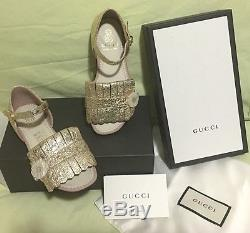 Brand New Authentic Gucci Children Girls Sandals Shoes 29 12 US Gold RRP $430