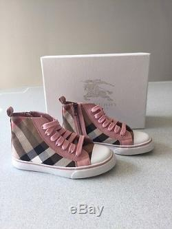 Burberry Check Kids/Girls High-top Sneakers Slate Pink Size 32 (US 1)