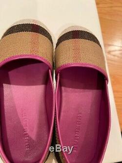 Burberry Girls Check Print Flat Espadrilles Shoes Size 10.5 Us/ Eu 28 Pink