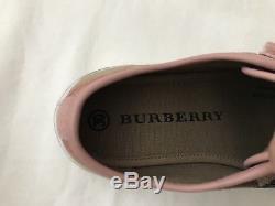Burberry Girls Pink Leather Nova Check Canvas Rubber Toe Sneakers EU KID30