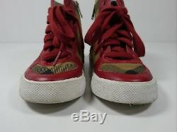 Burberry Kids Girls Check High Top Sneakers Red size 30 (US 12.5)