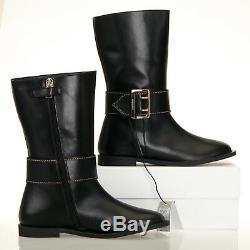 Burberry Kids Mini Farnworth Black Leather Boots Size 2.5 US (34 EU)